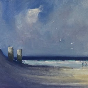 (CreativeWork) Three-pole beach by Mike Barr. oil-painting. Shop online at Bluethumb.