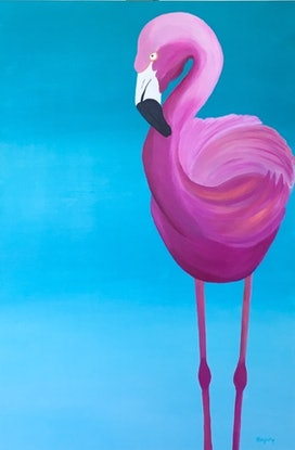 (CreativeWork) Flamingo by Yvonne Hegarty. Acrylic Paint. Shop online at Bluethumb.