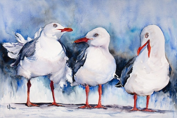 (CreativeWork) The Glam Gulls by Lorraine Brown. Watercolour Paint. Shop online at Bluethumb.