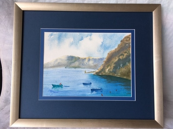 (CreativeWork)  Italian Coast Line Off Cinque Terre by Mary Brown. Watercolour Paint. Shop online at Bluethumb.