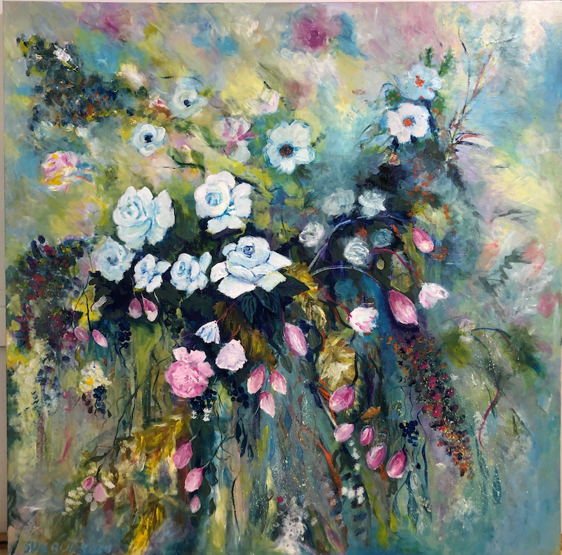 (CreativeWork) Bee's delight by Sue Burton. Acrylic Paint. Shop online at Bluethumb.