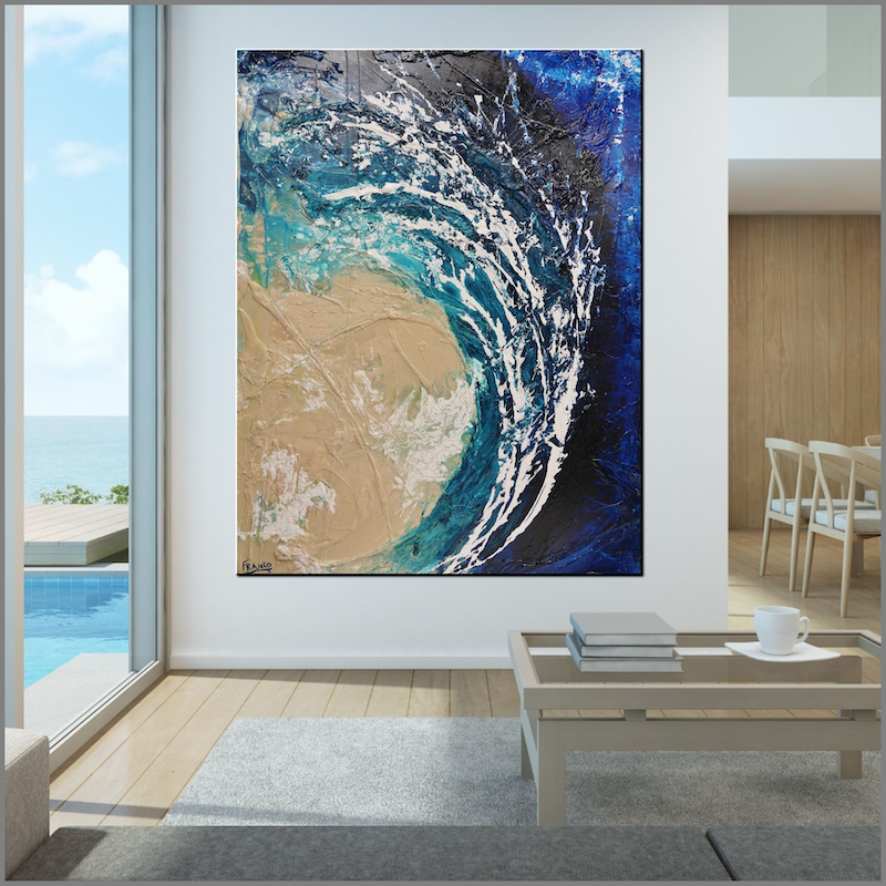 (CreativeWork) Washed Reef  140cm x 180cm Blue Teal Ocean BeachTextured Acrylic Abstract Gloss Finish FRANKO by _Franko _. Acrylic Paint. Shop online at Bluethumb.
