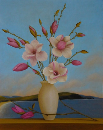 (CreativeWork) Magnolia Soulangeana by sophie haythornthwaite. Oil Paint. Shop online at Bluethumb.