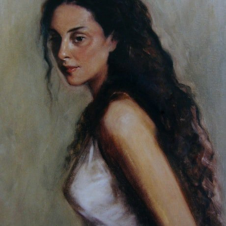 (CreativeWork) Portrait of a woman by sophie haythornthwaite. Oil Paint. Shop online at Bluethumb.