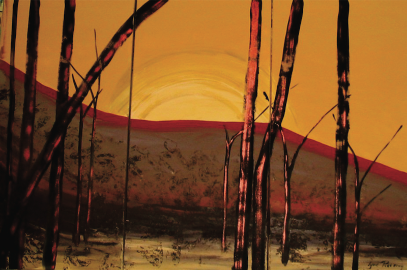 (CreativeWork) Copper  sunset woodlands  by Lynne ( Dorothy Lynne) Pickering. Acrylic Paint. Shop online at Bluethumb.