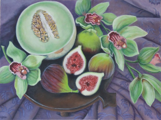 (CreativeWork) Orchids, melon and figs  by Annabelle Gfeller. Acrylic Paint. Shop online at Bluethumb.