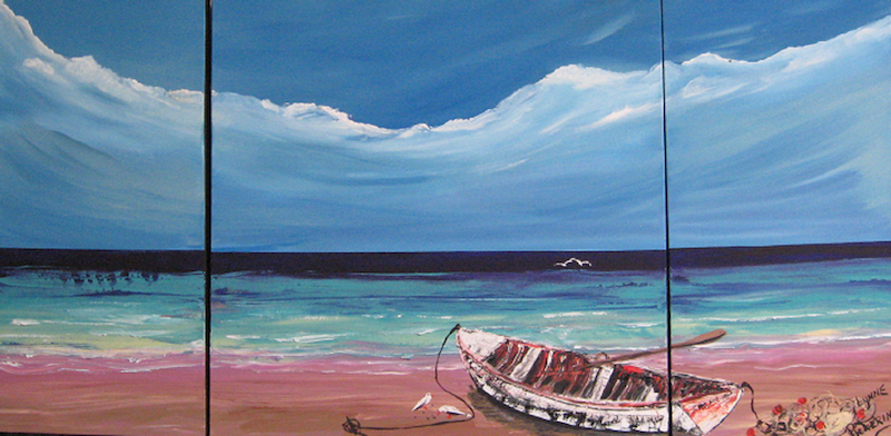 (CreativeWork) Boat on beach with storm by Lynne ( Dorothy Lynne) Pickering. Acrylic Paint. Shop online at Bluethumb.