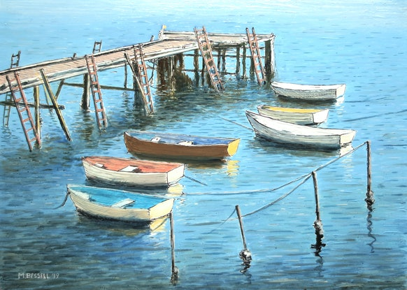 (CreativeWork) Dinghies at Cornelian Bay by Michael Bessell. Mixed Media. Shop online at Bluethumb.