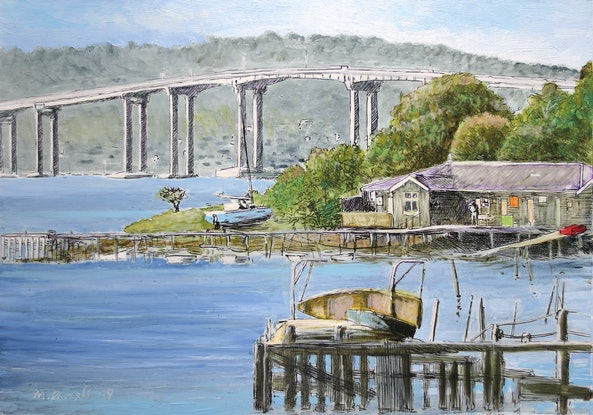 (CreativeWork) Cornelian Bay with Tasman Bridge by Michael Bessell. Mixed Media. Shop online at Bluethumb.