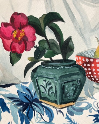 (CreativeWork) Still Life Study with Camellia and Pear by Sally Browne. Watercolour Paint. Shop online at Bluethumb.