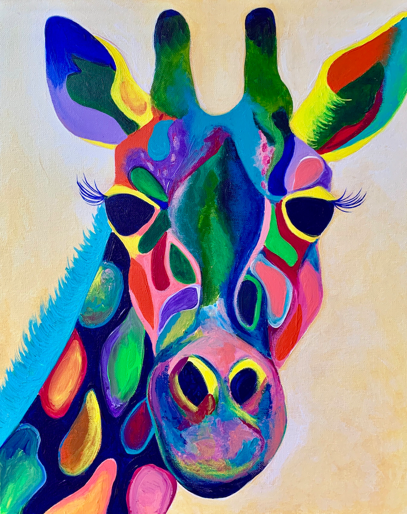 (CreativeWork) Gerald the Giraffe (Framed) by Rebecca Warr. Acrylic Paint. Shop online at Bluethumb.
