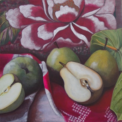 (CreativeWork) Pears and Peonie II  Ed. 1 of 50 by Annabelle Gfeller. Print. Shop online at Bluethumb.