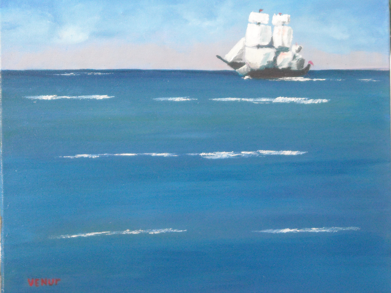 "(CreativeWork) Replica of Cook's""Endeavor"" ship by venur gorloff. Oil Paint. Shop online at Bluethumb."