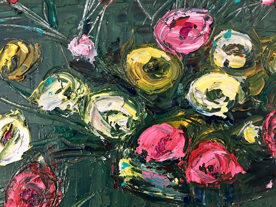 (CreativeWork) Roses in Olive- Still Life by Michelle Keighley. Oil Paint. Shop online at Bluethumb.