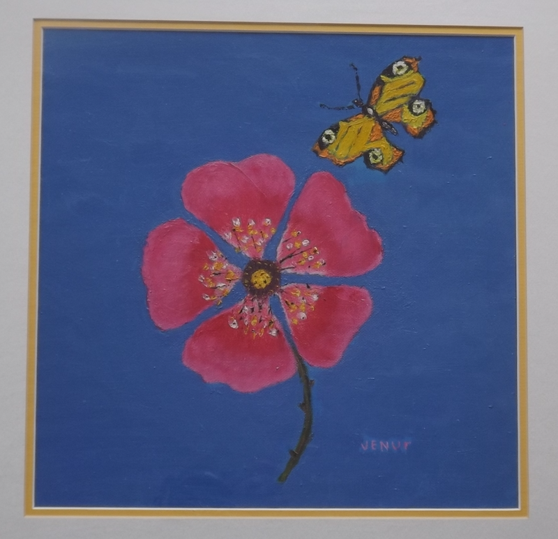 (CreativeWork) red flower with butterfly by venur gorloff. Oil Paint. Shop online at Bluethumb.