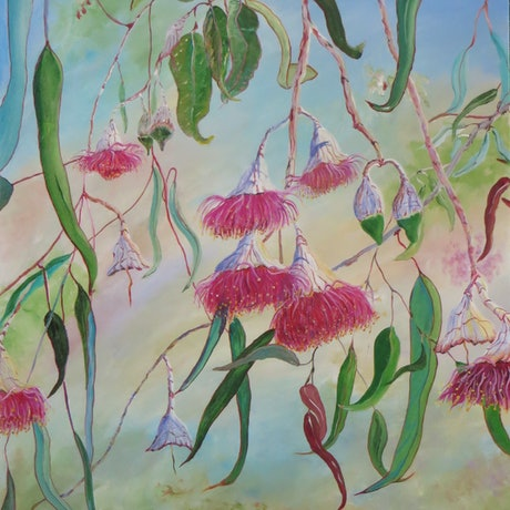 (CreativeWork) Australian Gumnut Flowers  by Monika Scheffler. Acrylic Paint. Shop online at Bluethumb.