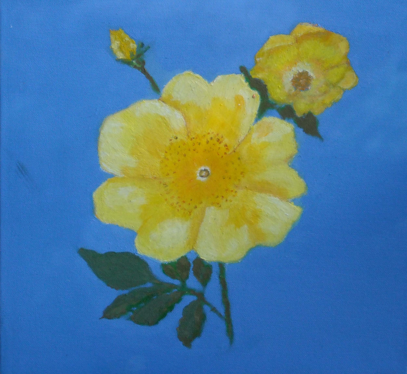(CreativeWork) yellow flower with buts by venur gorloff. Oil Paint. Shop online at Bluethumb.