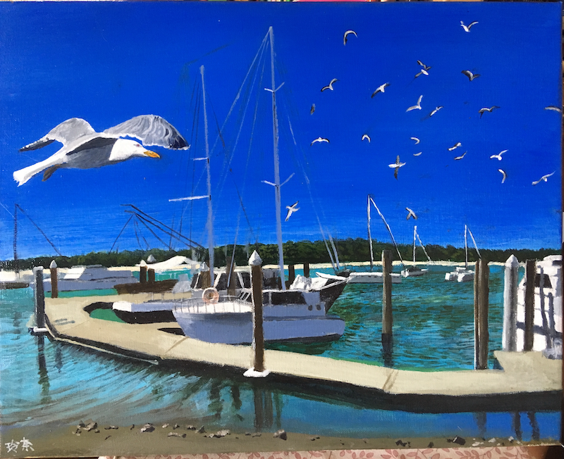 (CreativeWork) Tin Can Bay  by Reina Muller. Acrylic Paint. Shop online at Bluethumb.