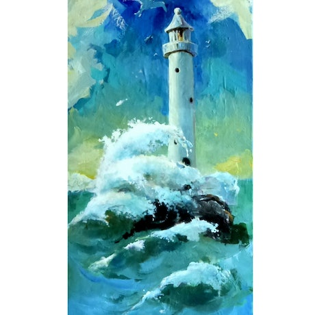 (CreativeWork) Light house Woollongong by Leeka Gruzdeff. Acrylic Paint. Shop online at Bluethumb.