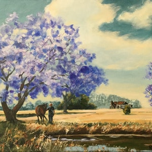 (CreativeWork) Heading Home via the Jacarandas by Robyn Gray. acrylic-painting. Shop online at Bluethumb.