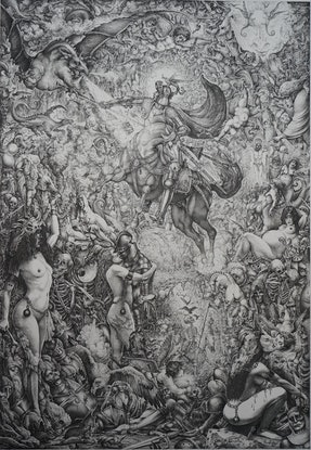 (CreativeWork) St George fighting the Dragon by Imre Zsido. Drawings. Shop online at Bluethumb.