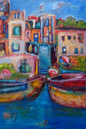 (CreativeWork) BOATS ON THE RIVER GANGES by Maureen Finck. Oil Paint. Shop online at Bluethumb.