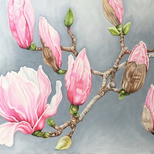 (CreativeWork) Pink Magnolias - Mt Dandenong Botanic Gardens by Alicia Cornwell. oil-painting. Shop online at Bluethumb.