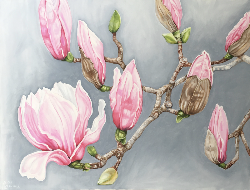 (CreativeWork) Pink Magnolias - Mt Dandenong Botanic Gardens by Alicia Cornwell. Oil Paint. Shop online at Bluethumb.