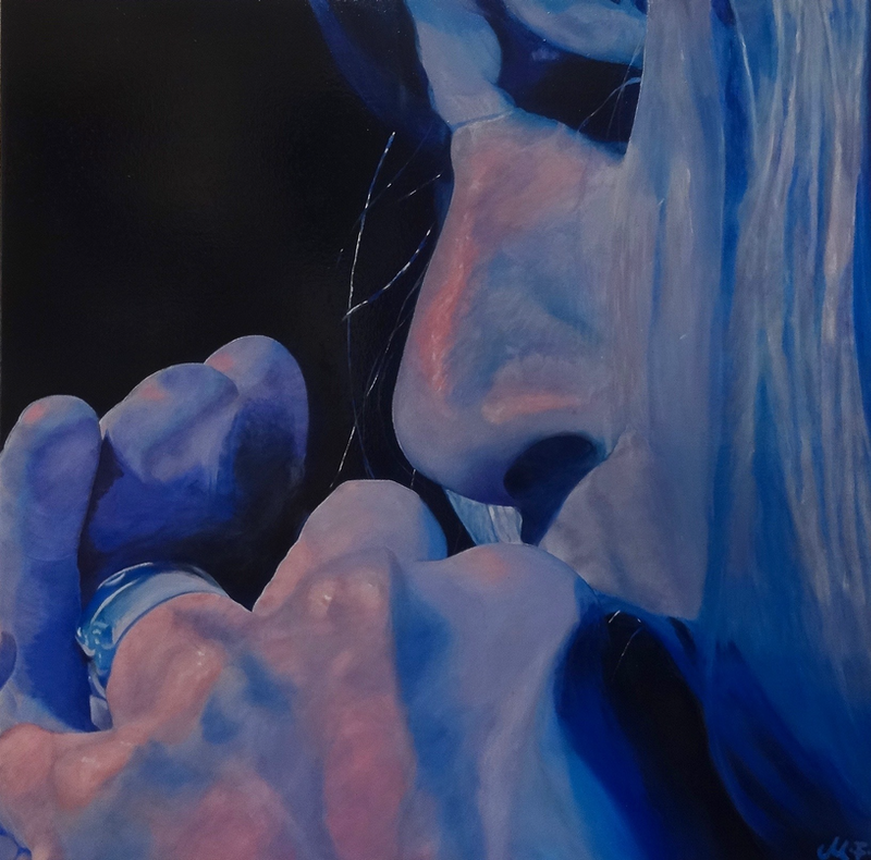 (CreativeWork) Blue Tunes  by Monika Feuerstein. oil-painting. Shop online at Bluethumb.