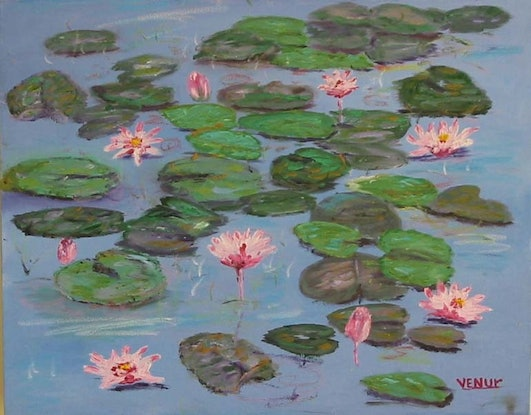 (CreativeWork) water lilies  by venur gorloff. Oil Paint. Shop online at Bluethumb.
