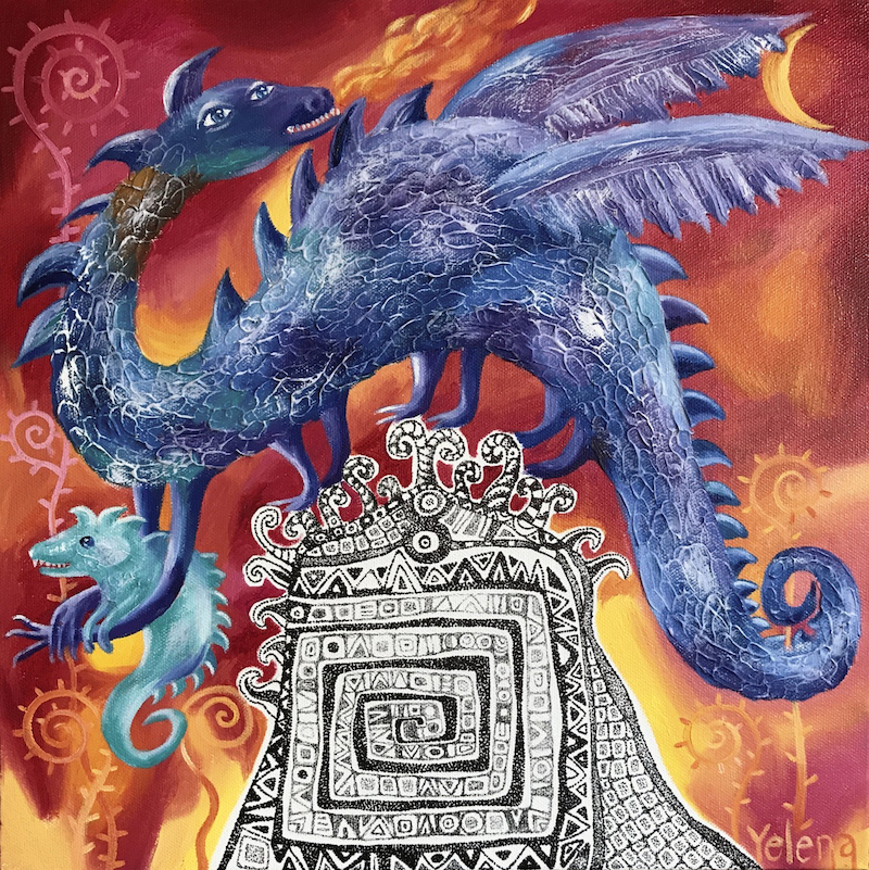 (CreativeWork) Year of the Dragon - original whimsical oil painting, ready to hang by Yelena R. Oil Paint. Shop online at Bluethumb.