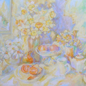 "(CreativeWork) ""TEA FOR TWO"" by Daniela Selir. arcylic-painting. Shop online at Bluethumb."