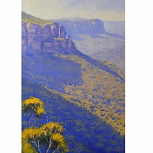 (CreativeWork) Govetts Leap Blackheath  by Graham Gercken. oil-painting. Shop online at Bluethumb.