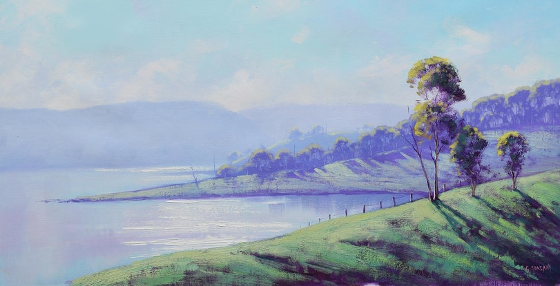 (CreativeWork) Early Morning Lake Windermere nsw  by Graham Gercken. Oil Paint. Shop online at Bluethumb.