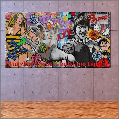 (CreativeWork) Everybody was Kung Foo fighting 190cm x 100cm Bruce Lee Urban Pop art FRANKO   by _Franko _. Mixed Media. Shop online at Bluethumb.