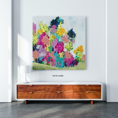 (CreativeWork) Singing Trees, abstract artwork by Clair Bremner by Clair Bremner. Acrylic Paint. Shop online at Bluethumb.