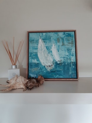 (CreativeWork) White Sails 2 - Sailing Boats by Naomi Veitch. Oil Paint. Shop online at Bluethumb.
