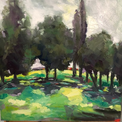 (CreativeWork) Sunshine in Enmore Park  30x30cm, oil on board Framed by Gail McKenzie. Oil Paint. Shop online at Bluethumb.
