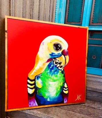 (CreativeWork) Budgie by Kylie Cuthbertson. Oil Paint. Shop online at Bluethumb.