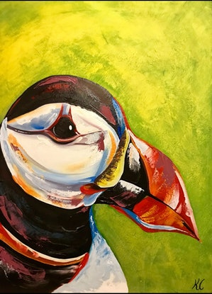 (CreativeWork) Puffin by Kylie Cuthbertson. Oil Paint. Shop online at Bluethumb.