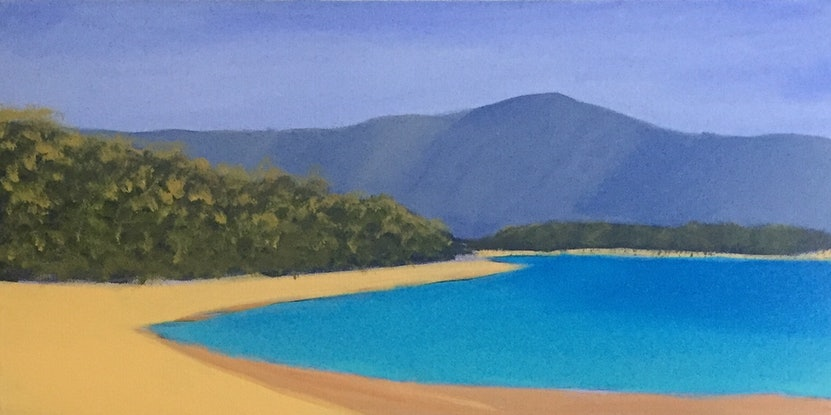 (CreativeWork) Toolakea Beach by Richard Lane. Acrylic Paint. Shop online at Bluethumb.