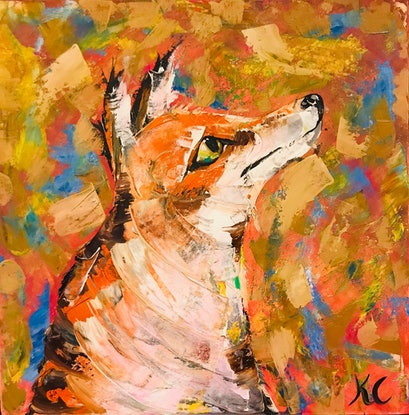 (CreativeWork) Fox by Kylie Cuthbertson. Oil Paint. Shop online at Bluethumb.
