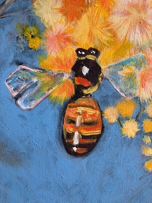 (CreativeWork) The Wattle and the Bee by Amanda Hunt. Acrylic Paint. Shop online at Bluethumb.