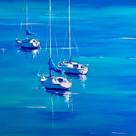 (CreativeWork) Harbour Views by Michele Forbes. Acrylic Paint. Shop online at Bluethumb.