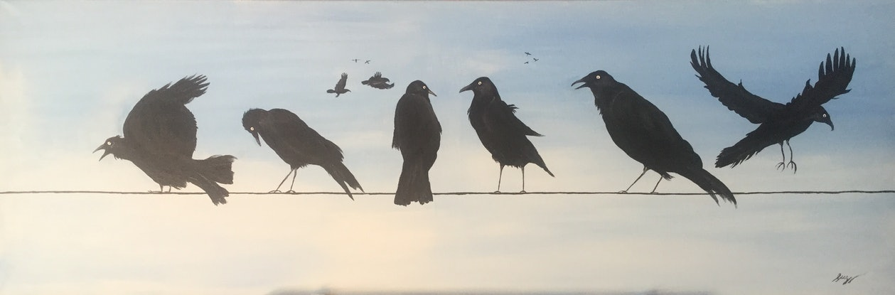(CreativeWork) Murder of crows by Geoff Lugg. Acrylic Paint. Shop online at Bluethumb.