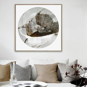(CreativeWork) Abstract Schooner - Large square, circle, neutral painting by Stephanie Laine. mixed-media. Shop online at Bluethumb.