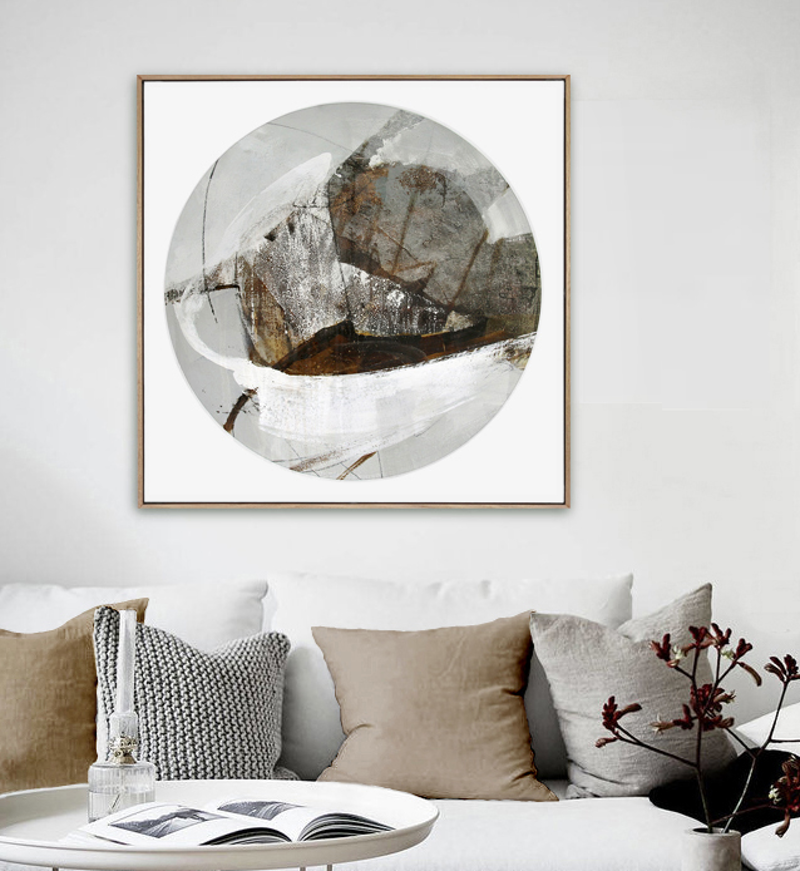 (CreativeWork) Abstract Schooner - Large square, circle, neutral painting by Stephanie Laine. Mixed Media. Shop online at Bluethumb.