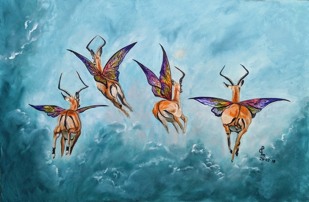 (CreativeWork) One Flew Over by Priya Gore. Oil Paint. Shop online at Bluethumb.