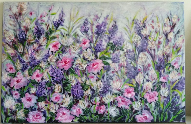 (CreativeWork) My favourite garden by Greer Roberts. Acrylic Paint. Shop online at Bluethumb.
