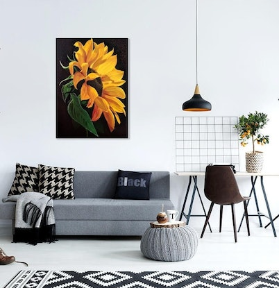 (CreativeWork) Flower of the sun- is on sale - was $540.00 by Yvonne Wells. Acrylic Paint. Shop online at Bluethumb.